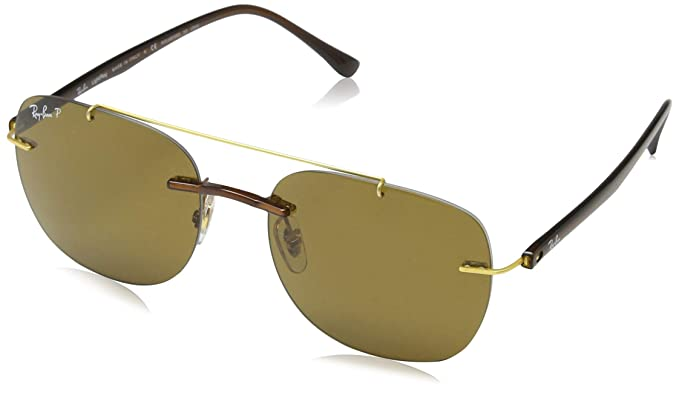 Ray-Ban 0Rb4280 Gafas de sol, Rectangulares, Polarizadas, 49, Brown ...