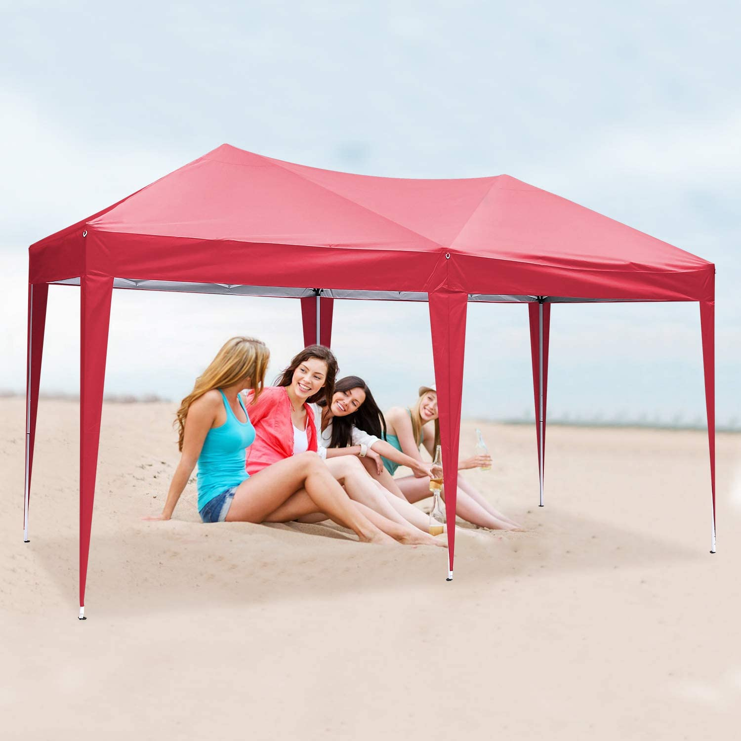 Beach Heavy Duty Gazebo Full Waterproof Sun-protective Marquee Tent with 4 Sidewalls and Carry Bag for Garden Instant Shelter YUEBO 3x3m Gazebo Flea Market
