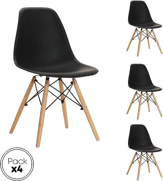 ST004 negra Silla patas madera y asiento PP negro estilo nórdico ...