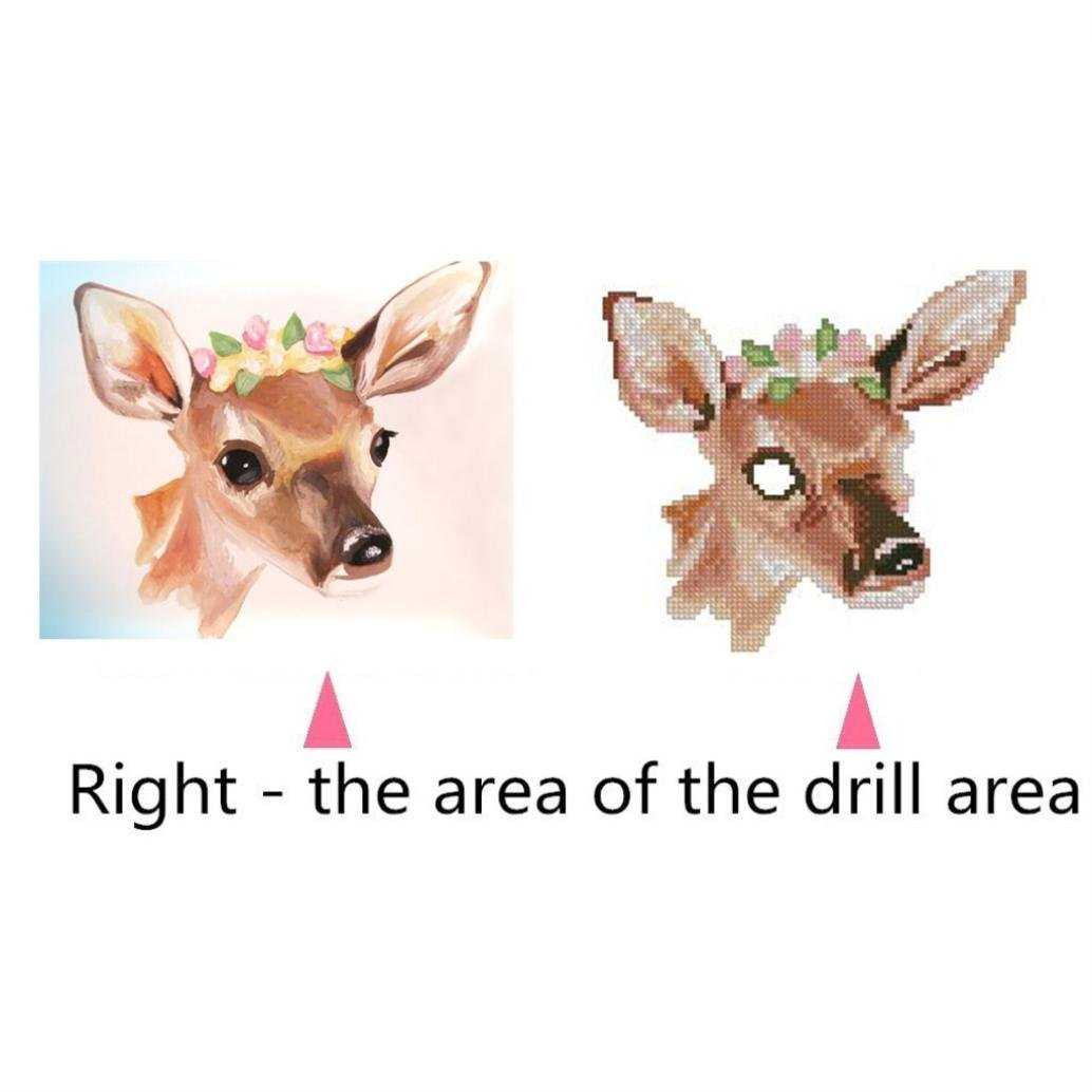 5D Diamond Painting by Number Kits, Crystal Rhinestone Diamond Embroidery Paintings Pictures Arts Craft for Home Wall Decor, Colorful Deer (F) by Franterd DIY (Image #5)