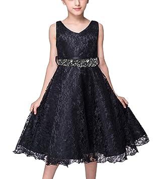 8cf934ab2 LaoZan La Princesa Flor De Las Muchachas De Boda Formal Dama De Vestido  Noche De Fiesta Para Niña Negro 110CM / 2-3 años: Amazon.es: Deportes y  aire libre