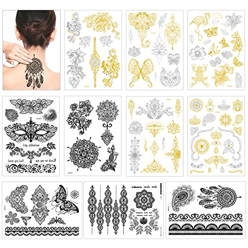 Temporary Tattoos for Girls Women(10 Large Sheets), Konsait Metallic Mandala Mehndi Boho Tribal Henna Body Sticker-Gold Silver Black-Hawai Beach Pool Party Favors Bachelorette Wedding Supplies