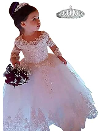 Amazon.com  hengyud Vintage Lace Flower Girl Dress Long Sleeves Princess  Kids Wedding Party Dress  Clothing ec09d8615