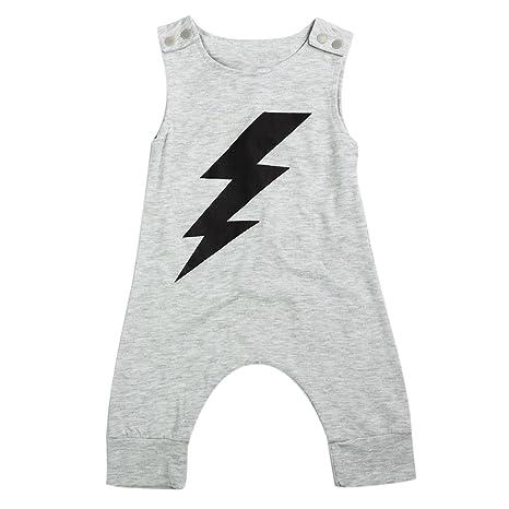 Baby Boys sin mangas Lightning impreso pelele algodón suave (100 cm)
