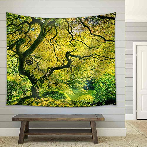 Amazing Green Japanese Maple Tree Nature Garden Fabric Wall Tapestry