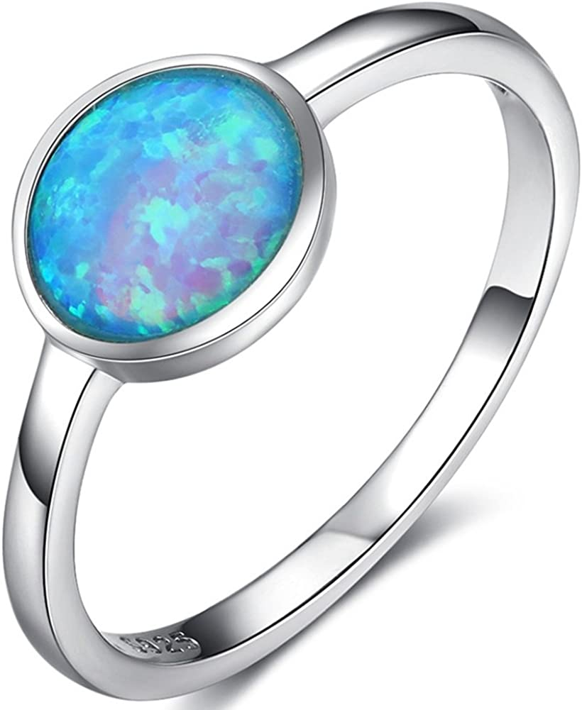 Jude Jewelers Blue Fire Opal Solitaire Wedding Engagement Anniversary Classical Simple Plain Ring