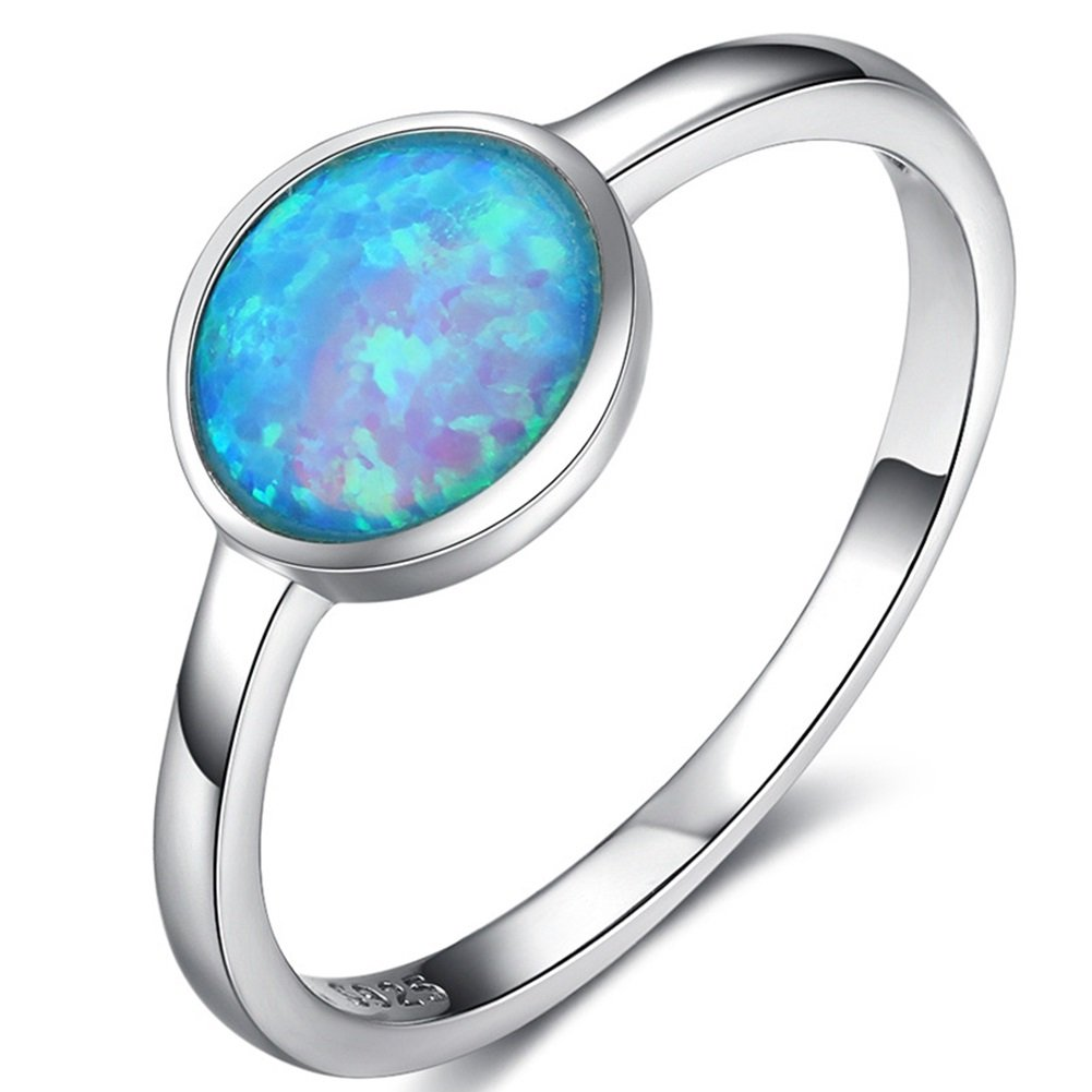 925 Sterling Silver Blue Fire Opal Wedding Engagement Solitaire Ring (Blue, 4)