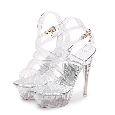 Sandalen Schuhe Heels Transparente High Damen Cinderella Kristall strhQdC
