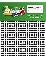 1440pastilles adhésives, 5mm, noir, en film PVC, Résistant aux intempéries, repères Cercles points autocollants