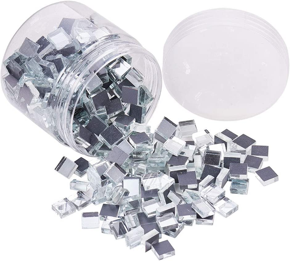 PandaHall Elite 350 pcs(280g) 0.4 inch Square Glass Mirror Tiles Mini Glass Decorative Mosaic Tiles for Home Decoration Crafts Jewelry Making, Clear