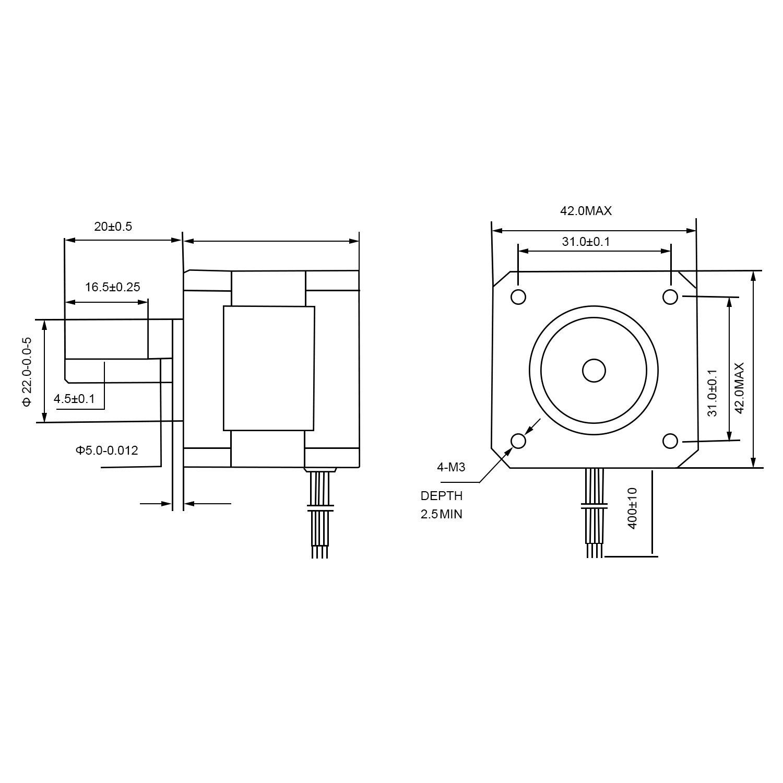 TopDirect Nema 17 Schrittmotor 1A 0.13Nm(18.4oz.in) 2-Phasen 4-Draht ...