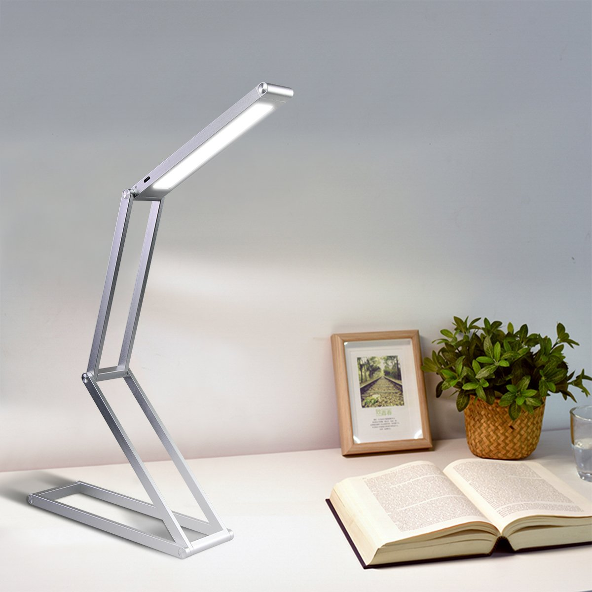 Elzo Rechargeable LED Desk Lamp, Portable Dimmable Table Lamp, USB Charging Port, 2 Brightness Levels, Aluminum Alloy Folding Lamp with Wall Mount for Reading Studying Working Camping (Silver) by ELZO (Image #2)