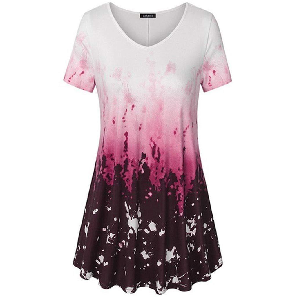 waitFOR Maglietta Donna Pizzo Maniche Corte Camicetta Gradiente Colore Estivi Top Eleganti Chiffon Camicia da Lavoro Magliette Formale Maglia T Shirt