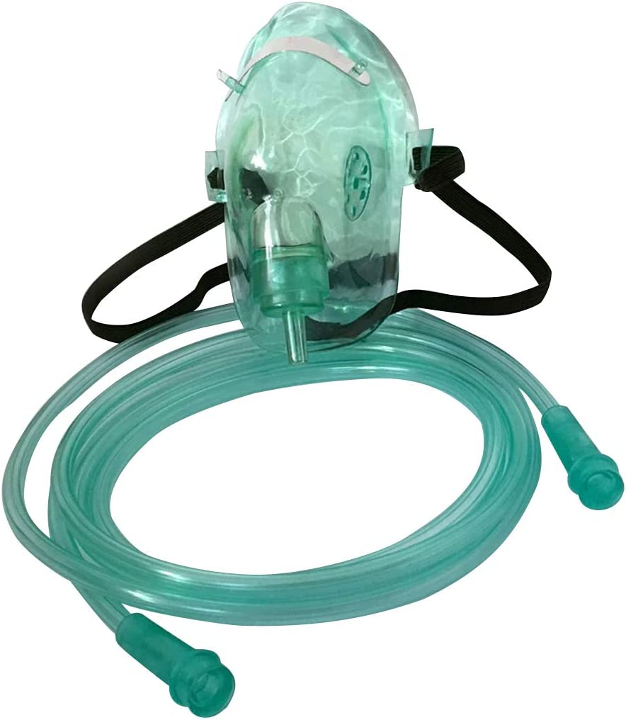 KIACIYA Máscara de Oxígeno con Bolsa, 1 Pieza Desechable de Protección Facial para Medicina, Nebulizador,Inhalador, Conduit Adulto, Mascara de Oxigeno Caliente (Small)