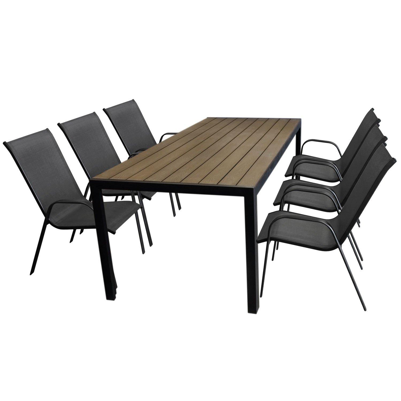 7tlg. Gartengarnitur Aluminium Gartentisch, Tischplatte Polywood Braun, 205x90cm + 6x Stapelstuhl, Textilenbespannung in Grau - Gartenmöbel Set Sitzgarnitur Sitzgruppe