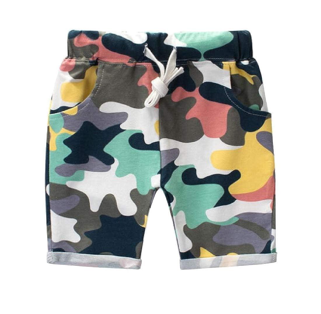 Macondoo Boys Casual Graphic Cotton Cuff Camouflage Elastic Waist Tie Waist Shorts