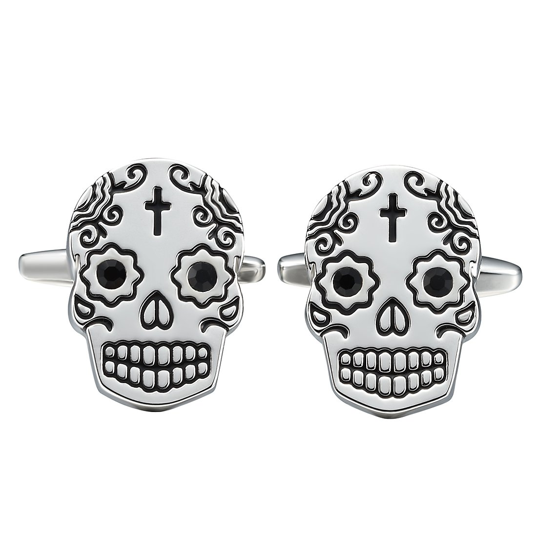 Three Keys Jewelry Mens Skull Cufflinks Black Vintage Fashion Style Cuff-Link for Business Wedding Shirt Dress GD-2964