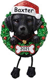 Personalized Black Labrador Retriever Dog Christmas Ornament - Lab Glitter Santa Hat and Christmas Holly Wreath Hanging Paws Christmas Tree Decoration Gift Dog Lover - Custom Name and Date