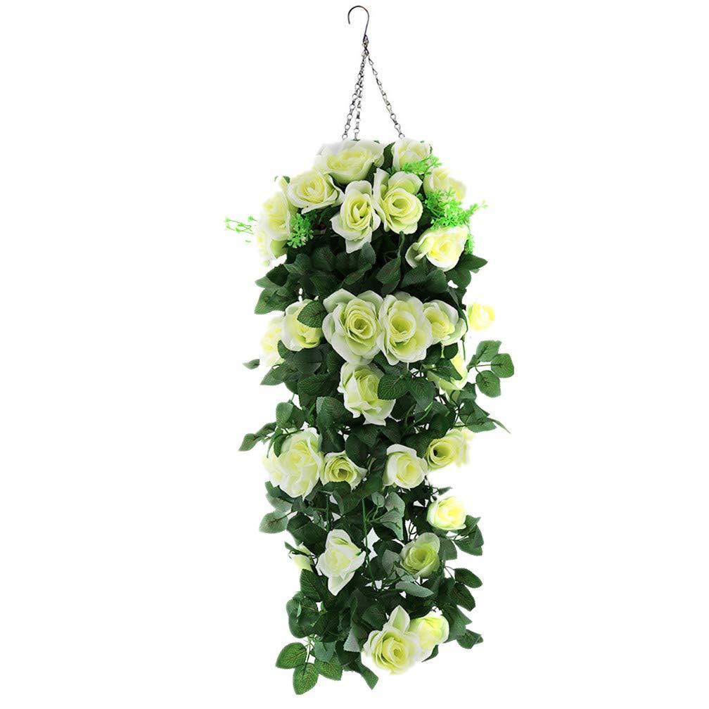 Mynse つり下げ式 フラワーポット 造花 植物 ホーム ウェディング バルコニー クリスマス 装飾 ホワイト 人工 ローズ フラワー つる 吊り下げバスケット Big Basbket ホワイト B07G3Z5Q7D  Big Basbket