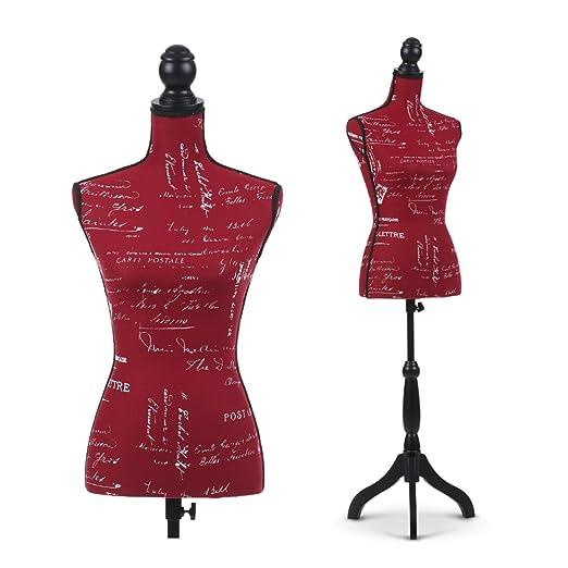 iKayaa Maniquí Busto de Mujer con Trípode de Madera de Pie Perchero de Vestido Patrón Opcional