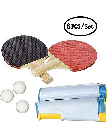 KAIMENG Juego de Juego Completo de Tenis de Mesa portátil, Red retráctil paletas Bolas Postes