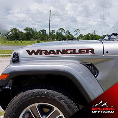 XPLORE OFFROAD - Jeep Wrangler JK JL JLU Hood Text Decals Sahara | Unlimited | Rubicon | Black & Red | Both Sides: Automotive