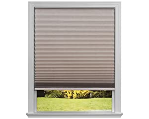 "Easy Lift Trim-at-Home Cordless Pleated Light Blocking Fabric Shade Natural, 36 in x 64 in, (Fits windows 19""- 36"")"