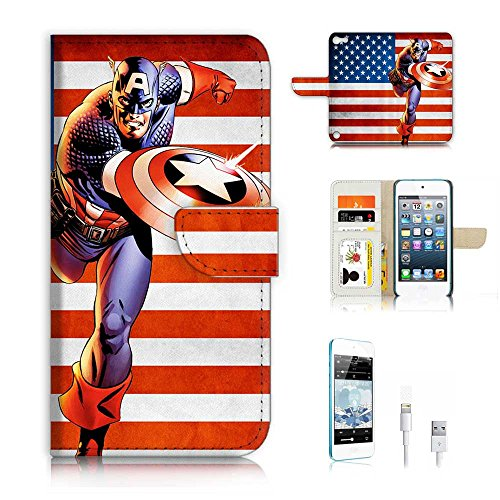 ( For ipod 5, itouch 5, touch 5 ) Flip Wallet Case Cover & Screen Protector & Charging Cable Bundle! A6004 Captain America