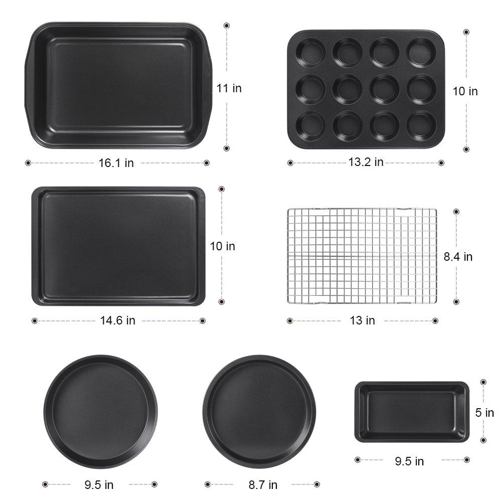 Kootek 7-Piece NonStick Bakeware Set, Muffin Pan, Loaf Pan, Cake Pan, Round Pan, Baking Sheet Pan, Cooling Racks Professional Baking Supplies Rectangle Cookie Pans by Kootek (Image #2)