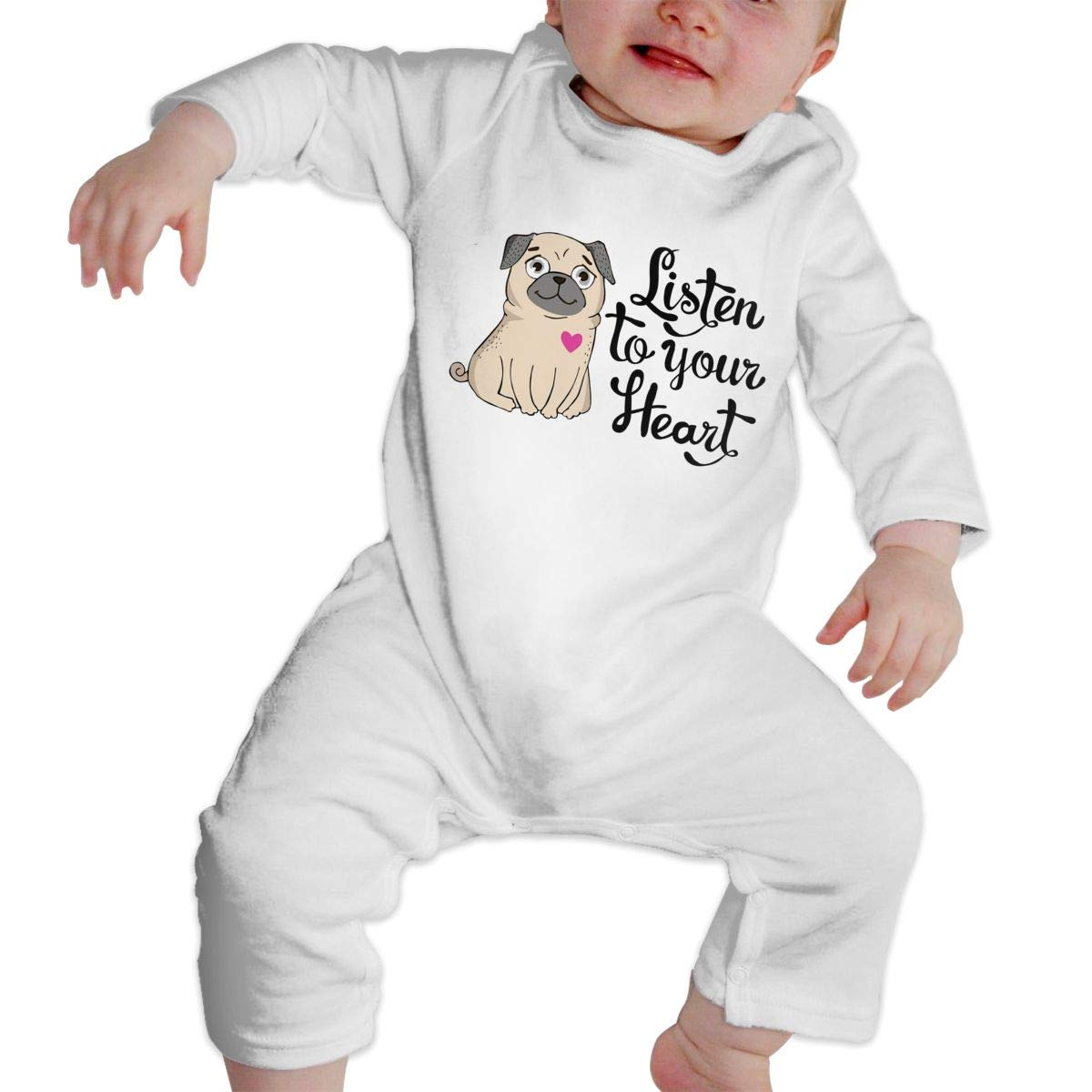 NOALKJ Babys Long Sleeve Romper,Listen-to-Your-Heart Jumpsuit Bodysuit Clothes