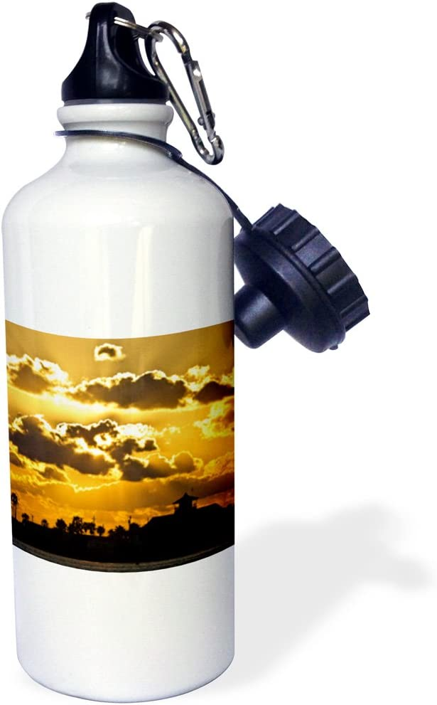 "3dRose wb_94476_1""Texas, South Padre Island, coast guard station US44 LDI0339 Larry Ditto"" Sports Water Bottle, 21 oz, White"