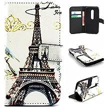 Moto G 3rd Gen Case,Gift_Source [Eiffel Tower] [Wallet Function] [Stand Feature] Magnetic Snap Case Wallet Premium Wallet Case Flip Case Cover for Motorola Moto G3 (3rd Generation)
