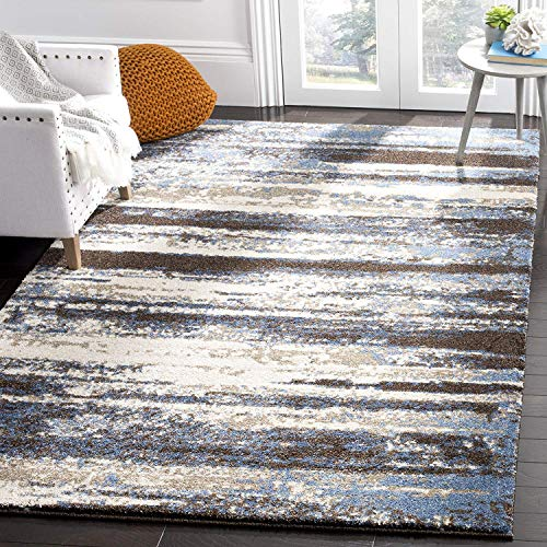 Safavieh Retro Collection RET2138-1165 Modern Abstract Cream and Blue Area Rug (8' x 10')