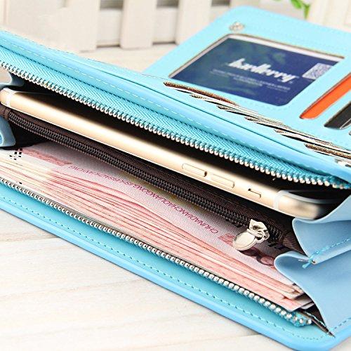 Leather Wallet RFID Blocking Zipper Purse Checkbook Card Holder Organizer Black by Kydely (Image #5)