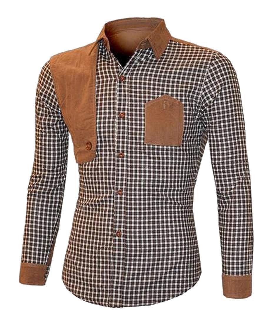 Fubotevic Mens Long Sleeve Slim Stylish Button Up Stitching Button Down Shirt