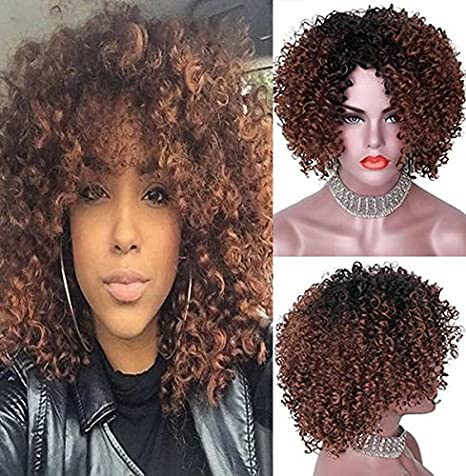 Party Queen Afro rizos. pelucas sintéticas para Brown Mujer Corto Kinky pelo Jet Negro