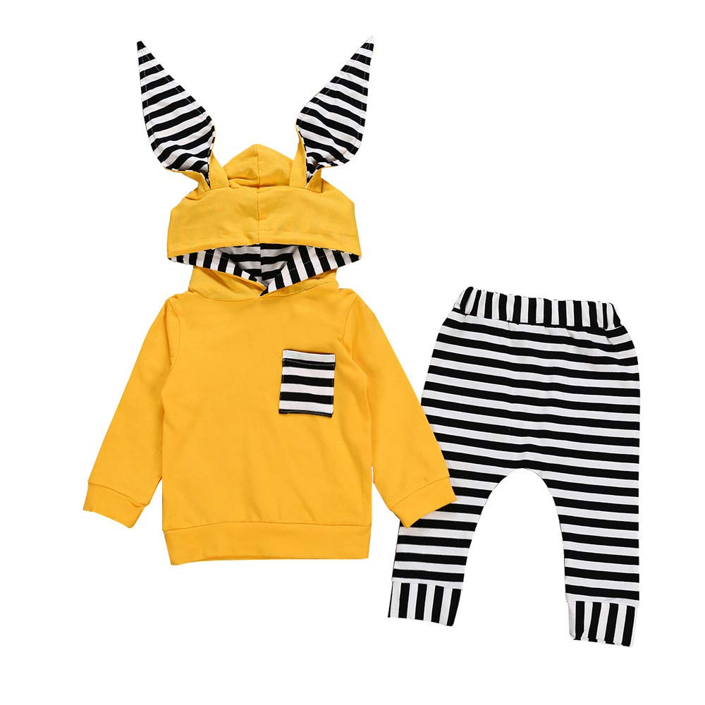 ❤️Mealeaf❤️ Baby Boys and Girls Clothes with Infant Baby Boy Girl 3D Bunny Ear Striped Hooded T Shirt Tops+Pants Clothes Set (0-6 Months Old, Yellow) meal-leaf