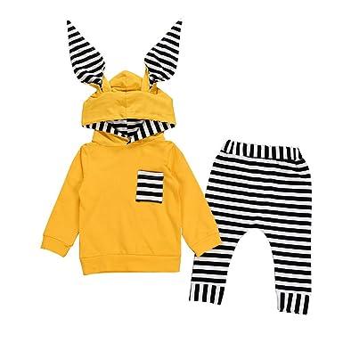 YanHoo Ropa para niños Conjunto de Pantalones con Capucha y Orejeras de Conejo a Rayas de Manga Larga para bebés Traje de otoño e Invierno Cheap Ropa de ...