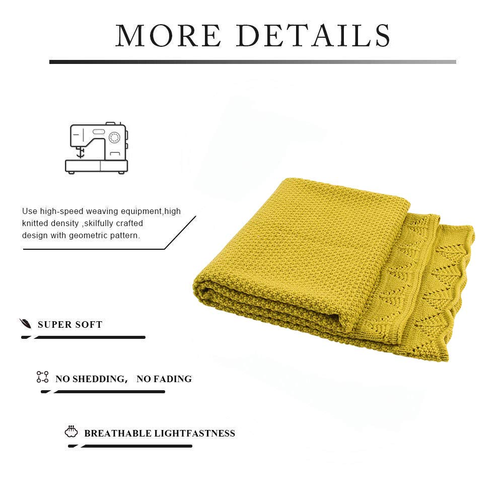 mimixiong Knitted Baby Blanket for Boy Girls Mustard Yellow,100cm x 80cm