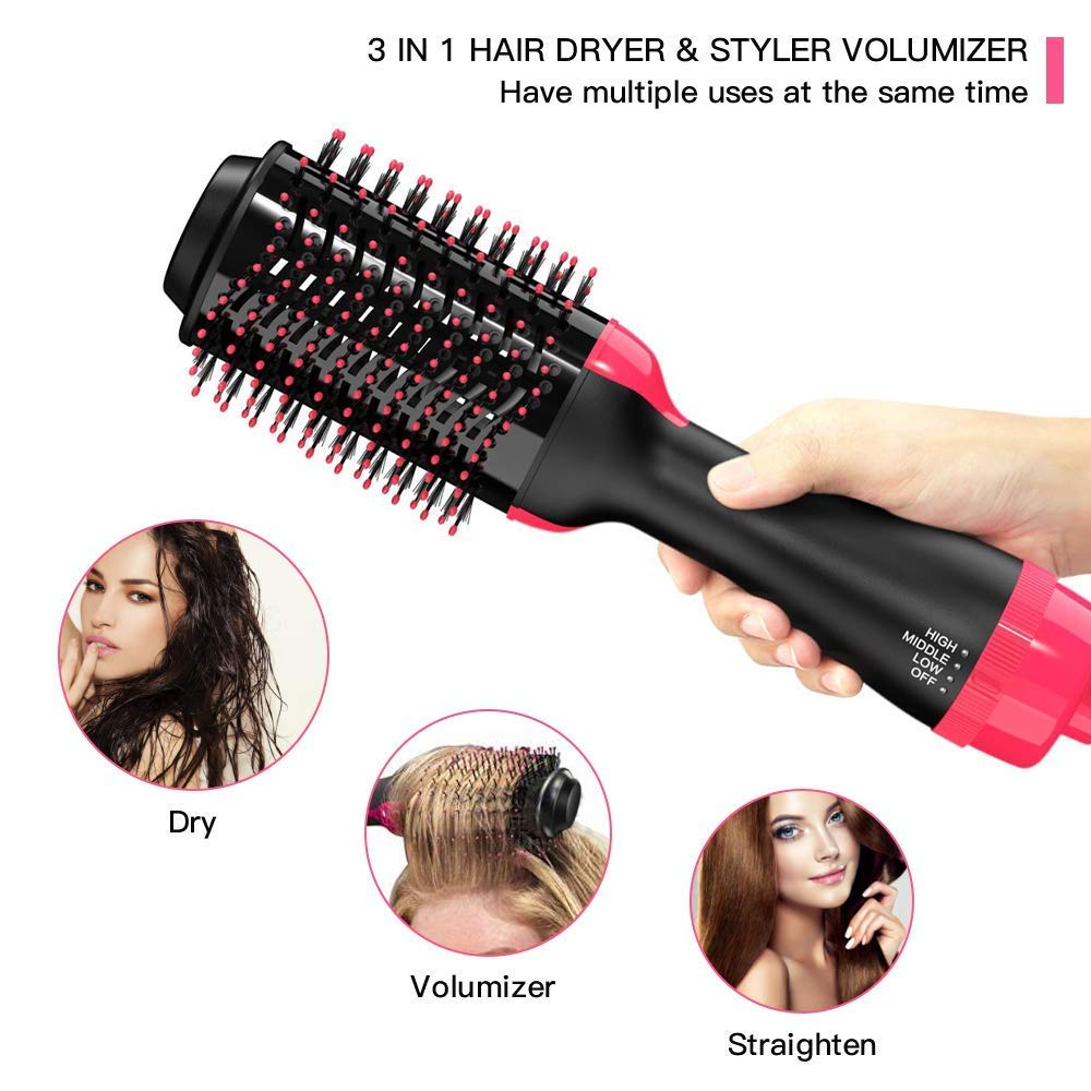 YJF Hot Air Brush One Step Hair Dryer & Volumizer 3-in-1 Electric Hair Blow Dryer & Styler Negative Ionic Salon Straightening Brush and Curly Hair Comb by YJF (Image #1)