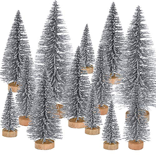 Pangda 42 Pieces Mini Christmas Tree Artificial Sisal Tabletop Sisal with Wood Base for Christmas Decoration, 4 Sizes (Silver)