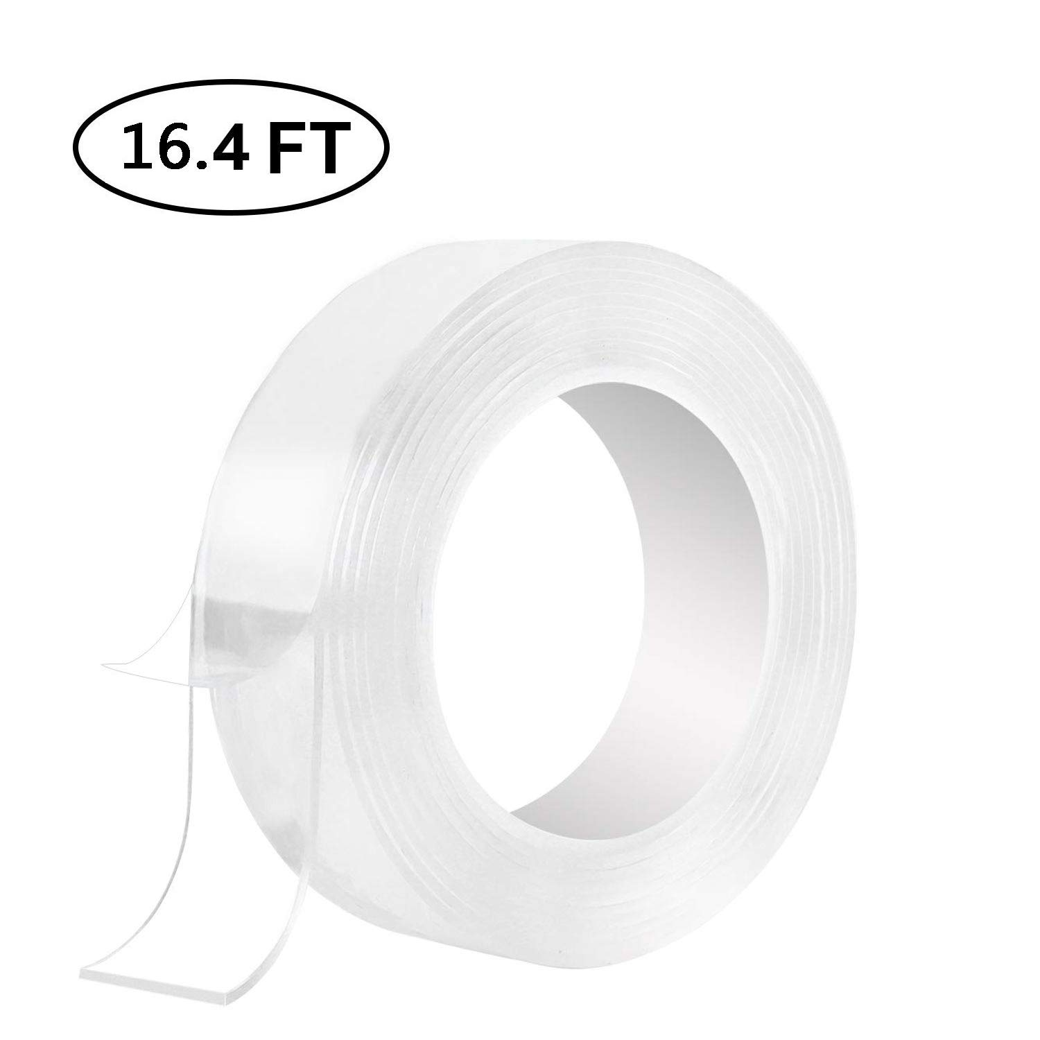 Washable Adhesive Tape,Traceless Reusable Clear Double Sided Anti-Slip Nano Gel Pads,Removable Sticky Transparent Strips Grip for Glass,Metal,Kitchen Cabinets and Tile Nano Tape (16.4 ft) by FetionSung