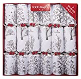 Classic English Handmade Festive and Party Crackers, Traditional British Christmas Cracker, Gift Box Set of 6, White Winter Wonderland Design, Medium, 12-inch