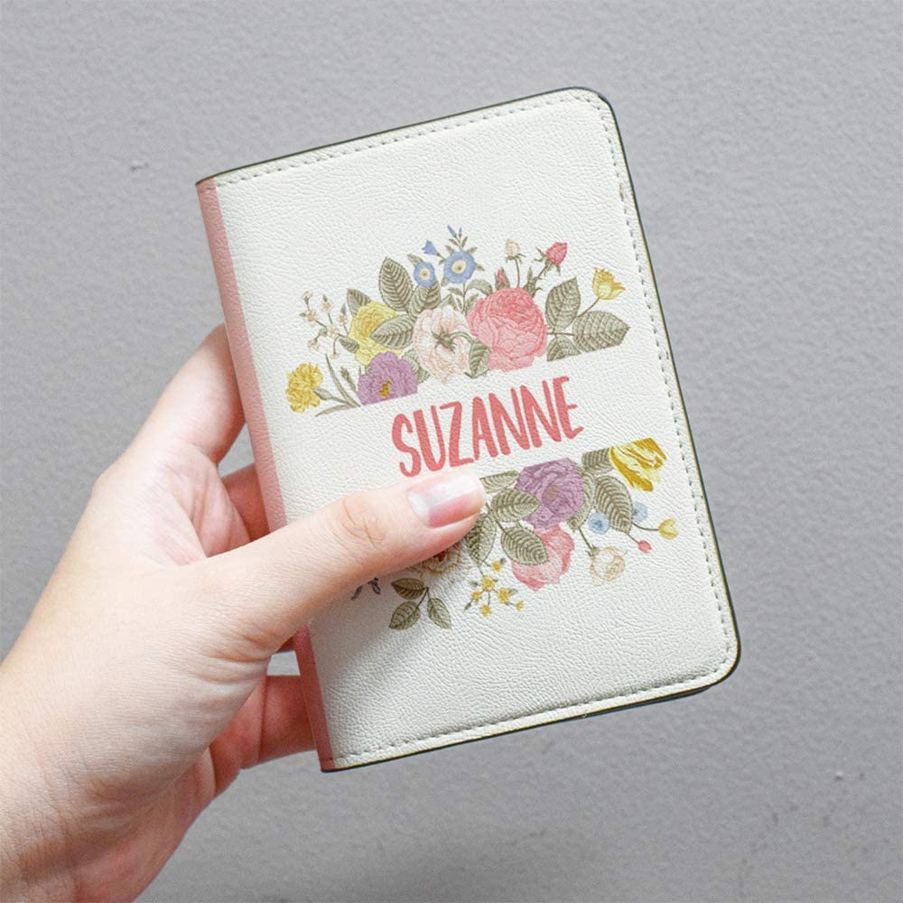 Floral Collection RFID Leather Passport Holder for Men and Women Travel Gift