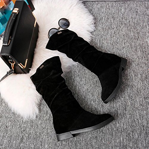 Clode Flat Ladies Sweet Snow Flat Autumn Mid Womens Boots Black Women Winter Suede Calf Boots Faux Flock Shoes Stylish Fashion Boots tFxw7A
