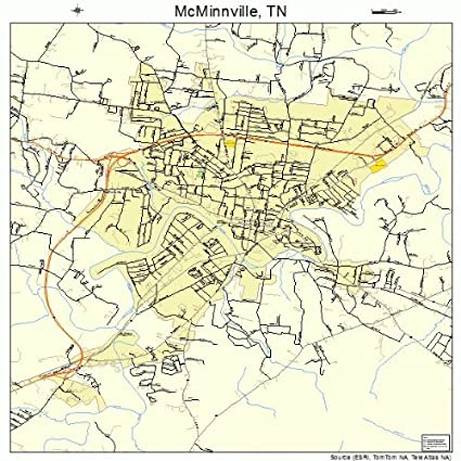 Amazon.com: Large Street & Road Map of McMinnville, Tennessee TN ...
