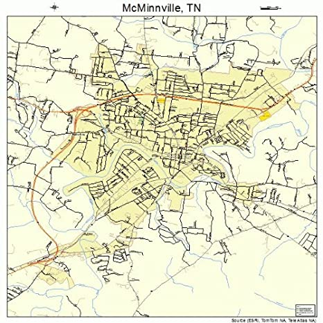 Amazon Com Large Street Road Map Of Mcminnville Tennessee Tn