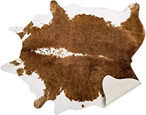 AROGAN Premium Faux Cowhide Rug 4.6 x 5.2 Feet, Durable and Large Size Cow Print Rugs, Suitable for Bedroom Living Room Western Decor, Faux Fur Animal Cow Hide Carpet