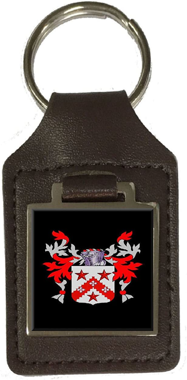 Andrew Heraldry Surname Coat Of Arms Brown Leather Keyring Engraved