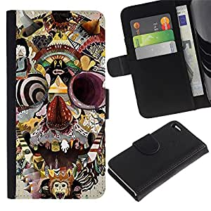 FU-OrionisDibujo PU billetera de cuero Funda Case Caso de la piel de la bolsa protectora Apple Apple iPhone 4 / iPhone 4S - Abstract Skull Painting Modern Art